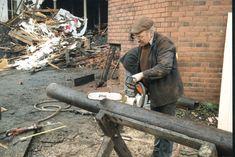 cutting a prop out of a telegraph pole. These props have to take over half of the chimney's weight until they are burnt away. The Hard Way, Firewood, Texture, Surface Finish, Woodburning, Pattern