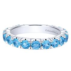 14k White Gold Stackable Style  Stackable Ladies' Ring Swiss Blue Topaz.
