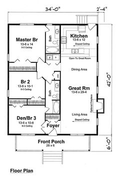 First Floor Plan of Cottage Narrow Lot Traditional Vacation House Plan 74001 -I like it as one floor/bungalow The Plan, How To Plan, Small House Floor Plans, Family House Plans, Br House, Cottage House, Tiny House, Garage House, Car Garage