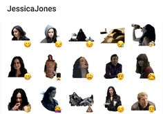 A telegram stickers pack about the famous Jessica Jones TV Series. Jessica Jones Tv, Telegram Stickers, Bullet Journal Inspo, Tv Series, Packing, Movie Posters, Movies, Bag Packaging, Films
