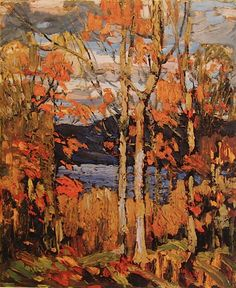 Quality print by Group Of Seven artist Tom Thomson - Algonquin October; Canada Landscape, Landscape Art, Landscape Paintings, Oil Paintings, Group Of Seven Art, Group Of Seven Paintings, Canadian Painters, Canadian Artists, Tom Thomson Paintings