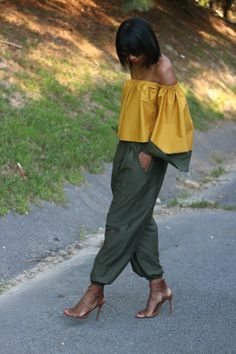 Beaute' J'adore: DIY Slouchy pants and off the shoulder top