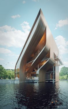 This is an epic rendering of this futuristic villa in Miami, Florida. The project name is the Royal Villa, Miami and it was surely envisioned for a King or a. architecture Futuristic Villa in Miami Futuristic Architecture, Beautiful Architecture, Contemporary Architecture, Art And Architecture, Contemporary Design, Futuristic Houses, Business Architecture, Creative Architecture, Contemporary Building