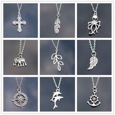 Новый Панк ключицы ожерелье Винтаж Дракон Сова Дельфин листьев крест сердце якорь слон Подвески для Для женщин сеть ювелирных