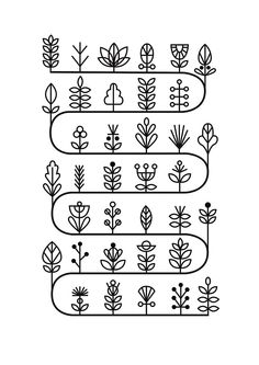 Stem Cycle Risograph Print by watersounds on Etsy/ Garden scheme. Mug Design, Icon Design, Graphic Design, Doodle Patterns, Zentangle Patterns, Zentangles, Doodle Drawings, Doodle Art, Embroidery Stitches