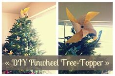cool alternative to the angel or star - a DIY pinwheel tree topper!