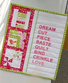 Mini quilt....I enjoy seeing the quilting process in my sewing room on such a beautiful quilted wall hanging.  .