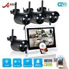 1TB HD 4CH Wireless Security System CCTV Camera 12''LCD NVR Surveillance Outdoor