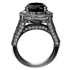 BLACK DIAMOND ENGAGEMENT RINGS | ... 14k Black Gold Round Cut AAA Black Diamond MICRO PAVE Engagement Ring