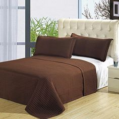 Chocolate 7PC Coverlet Set, Checkered Quilted Bedspread, Wrinkle Free, Includes Bedspread