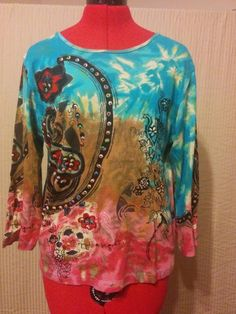 BUY IT NOW! Blouse w/ 3D Flowers & Beads Jane Ashley Size Medium 100% Cotton Knit     eBay
