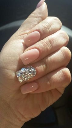 Beige with all different size rhinestones