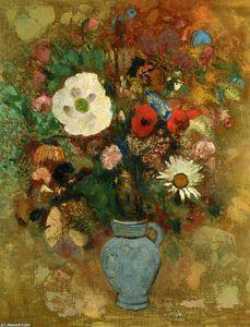 """Egon Schiele flowers   campo di fiori"""", gesso di Egon Schiele (1890-1918, Austria)"""