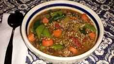 Thick and Hearty French Lentil Soup with vegetables. A warming and delicious ending to a snowy cold day!
