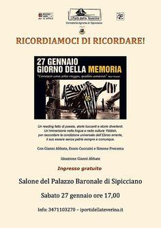 """""""Ricordiamoci di ricordare"""" la Giornata della Memoria, sabato l'evento di Sipicciano"""