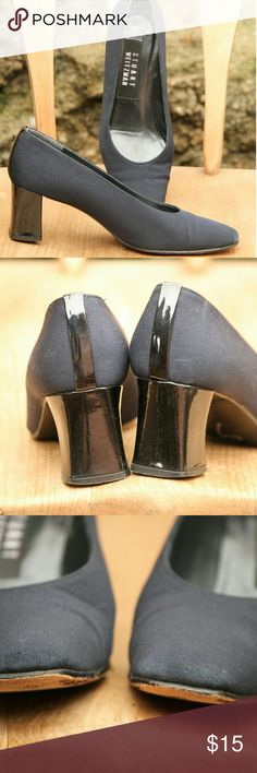 Stuart Weitzman square toe chunky heels Excellent condition Some fading at the toe Stuart Weitzman Shoes