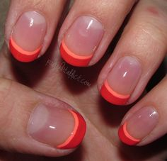 Try this coral tip manicure for an updated and seasonal version of a french manicure!