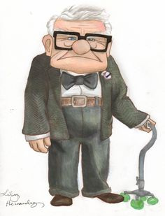 6 Fan Art Illustrations Of Up Movie Carl Fredricksen Up Pixar, Disney Pixar Up, Disney Love, Disney Drawings, Cartoon Drawings, Cute Drawings, Cute Wallpaper Backgrounds, Cute Wallpapers, Character Illustration