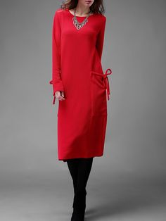 Red Long Sleeve Pockets Plus Dress -SheIn(abaday)