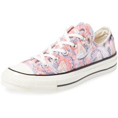 Converse All Star '70 Hawaiian Print Low Top Sneaker ($49) ❤ liked on Polyvore featuring shoes, sneakers, multi, lace up shoes, converse trainers, lacing sneakers, print sneakers and converse shoes