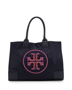 Ella+Beaded+Nylon+Tote+Bag,+Tory+Navy+by+Tory+Burch+at+Neiman+Marcus.