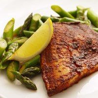 Chili Rubbed Tilapia with asparagus and lemon (great for all phases)