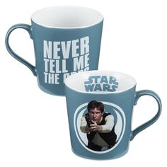 "The mug, in soft white and smuggler blue, features Han Solo in front of a Rebel Alliance logo on one side.  The opposite mug side says, ""Never tell me the odds"" in white letters.  The interior lip showcases the Star Wars logo."