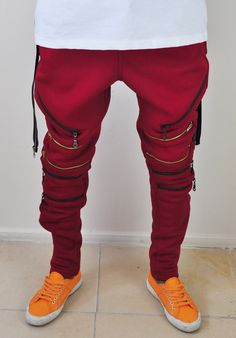 Biker Drop Crotch Side Pocket False Zip Open Knee Side Cotton Jogger H – ofelyaboutique