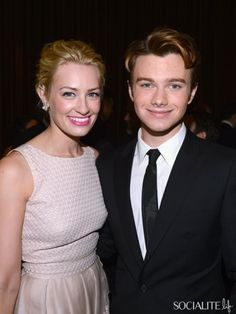 Beth Behrs (L) and Chris Colfer