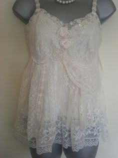 Upcycled tiered lace camisole