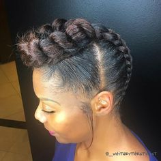 60 Easy and Showy Protective Hairstyles for Natural Hair Mohawk Braid Updo Thick Natural Hair, Natural Hair Updo, Be Natural, Natural Hair Styles, Natural Texture, Mohawk Braid Updo, Braided Updo, 4 Braids Cornrows, Box Braids Updo