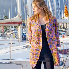 The SKEINO SUMMER JACKET is knitted in this very open pattern using ten skeins of SKEINO's felted yarn. It is very light and the colors are vibrant. This felted I-cord yarn is worsted weight and has Merino and 20 % Nylon (as binder). I Cord, Summer Jacket, Sweater Making, Jacket Pattern, Binder, Vibrant, Crochet, Colors, Sweaters