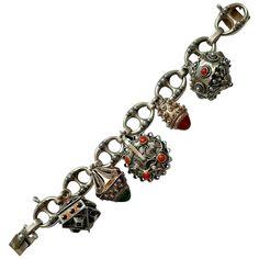 Italian 800 Silver & Gemstone Etruscan Revival Charm Bracelet - 1934-44 Mark Vintage Silver Jewelry, Vintage Fashion, Charmed, Gemstones, Bracelets, Gems, Jewels, Fashion Vintage, Bracelet