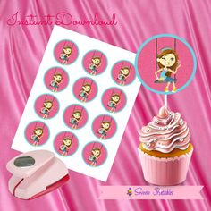 """Flower Girl  Cupcake Toppers,Flower Girl Doll Gift tags,Flower Girl  Instant Download, Flower Girl  Party Favor, Printable Labels, 2""""inch"""