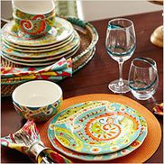 Paisley Party. Turquoise teal orange red Dining & Entertaining Tablescapes | Pier 1 Imports
