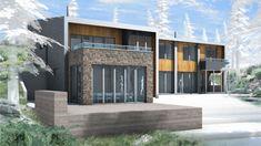 Casa de campo moderna de dos pisos en desnivel | Construye Hogar