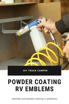 Learn about powder coating, masking, hot flocking, and curing with a toaster oven in this DIY restoration of a vintage two-tone camper emblem. Diy Camper, Truck Camper, Do It Yourself Camper, Camper Renovation, Remodeled Campers, Powder Coating, Masking, Toaster, Flocking