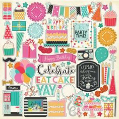 Party Time 12x12 Scrapbook Kit Papers Stickers Birthday Celebrate Echo Park