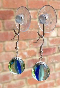 Vintage marble earrings royal blue 80s cats-eye glass dangle drop  on Etsy, £5.00