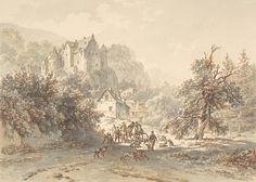 Barend Cornelis Koekkoek - Landschap met een jachtpartij