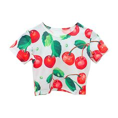 Chicnova Fashion Retro Style Cherry Print Short Sleeves Elastic... (160 SEK) ❤ liked on Polyvore featuring tops, t-shirts, shirts, crop tops, short sleeve tee, short sleeve shirts, retro tops, retro t shirts and crop tee