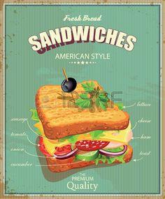 Sandwiches. Ilustración del vector. Estilo americano. Vintage. Ingredientes etiqueta.