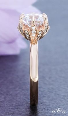 Rose Gold Floral Solitaire Engagement Ring. Green Lake Jewelry