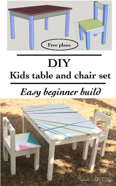 DIY Easy and cute kids play table and chair set! Easy free plans included. Great beginner woodworking project!