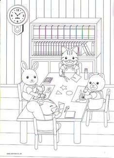Calico Critters Schoolwork Coloring Page