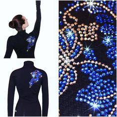 """Venetta """"Floral"""" Skating Jacket Silver/Sapphire https://figureskatingstore.com/brands/Ice-Fire.html Vendetta """"Floral"""" figure skating jackets was inspired by Russian traditional painting technique. Rhinestone applique sparkles with versatile combination of silver hematite and deep blue sapphire color. #figureskatingstore #figureskating #sport #iceskating #skating #figureskater #iceskate #фигурноекатание #icering #ice #icefire #icedance"""