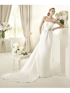 Column Strapless Cathedral Train Chiffon Bridal Gown