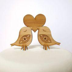 Love Birds Cake Topper - Bamboo - Wedding Cake Topper - Rustic Wedding - Modern Wedding on Etsy, $30.00