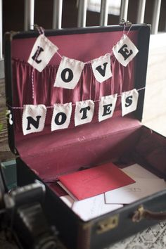 """Vintage suitcase for cards and well-wishes. I'd design the """"Love Notes"""" in a 40s or 50s font, though..."""