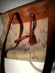 Dooney Bourke Satchel Canvas Tassel Zipper Medium Beige DB Logo Handbag  Nice  13507946acf3b
